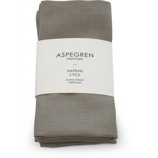 "Aspegren - 2er-Set Servietten ""Napkins Linen"", light gray"