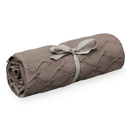 "Cam Cam Copenhagen -Strickdecke ""Leaf Knit Blanket"" chocolate"