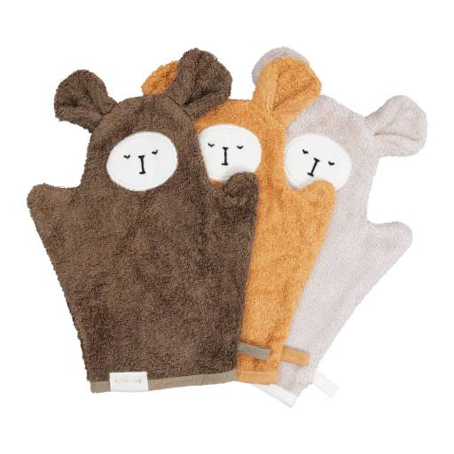 "Fabelab - 3er-Set Bio-Waschlappen ""Bath Mitts Bear"", olive mix"