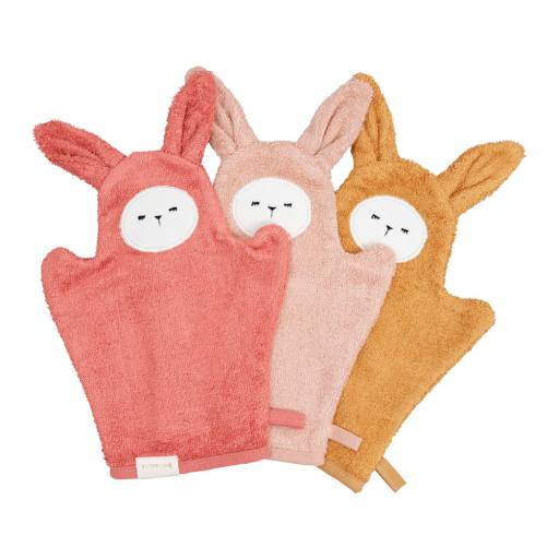 "Fabelab - 3er-Set Bio-Waschlappen ""Bath Mitts Bunny"", old rose mix"