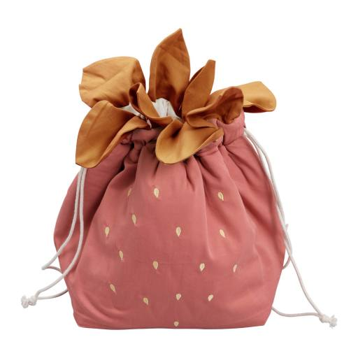 "Fabelab - Baumwollsack ""Small Storage bag Strawberry"", clay"