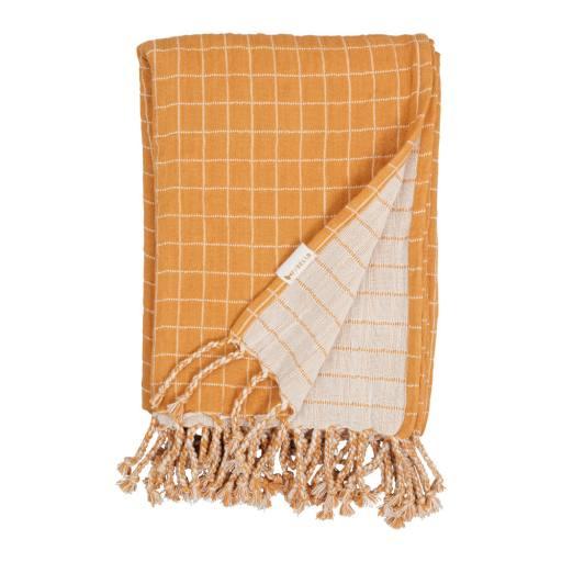 """Fabelab - Tagesdecke """"Baby Blanket Grid'', ochre"""