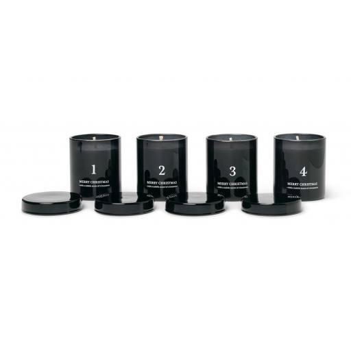 Ferm Living - Adventskerzen ''Scented Advent Candles 4er Set'', black