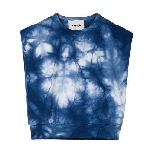 Finger in the Nose - Sleeveless Sweater ''Carol'', work blue tie & dye