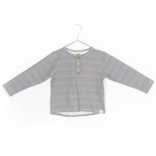 "Frankie & Lou - Langarmshirt ""Sami Henley Stripes"", grey stripes"