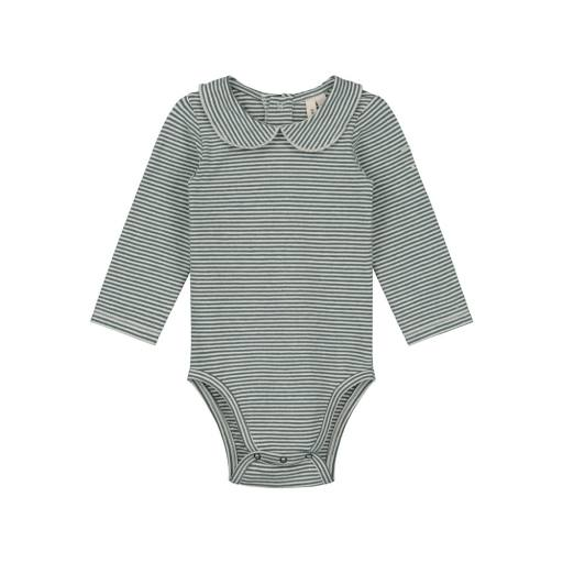 "Gray Label - Baby-Body ""Baby Collar Onesie"", blue grey/cream"