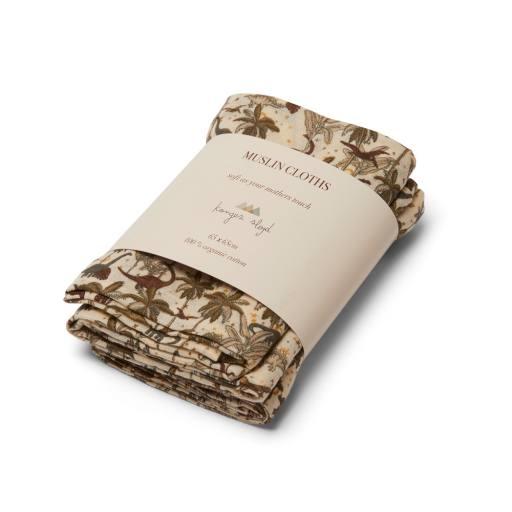 Konges Sløjd - 3-er Pack ''Muslin Cloth'', dino