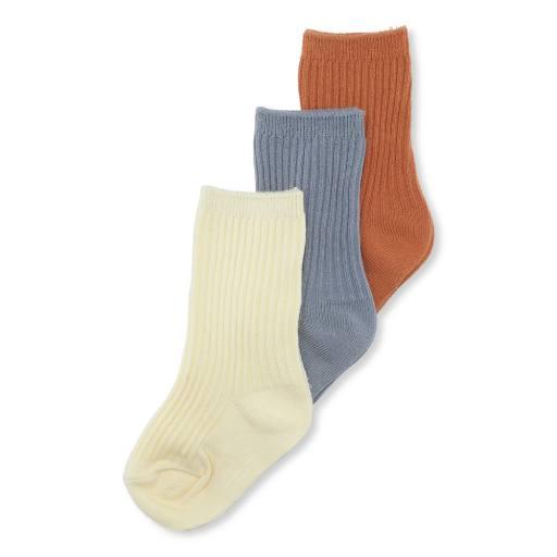 """Konges Sløjd - 3er Pack Socken """"Rib Socks"""", bisquit, quarry blue, lemon sorbet"""