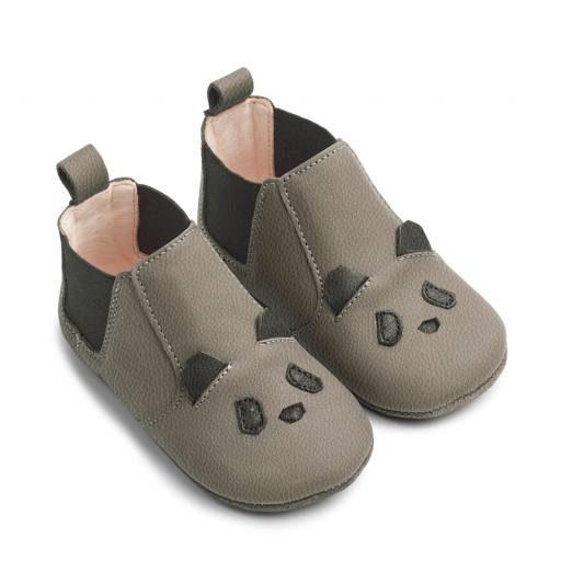 "Liewood - Babyschuhe ""Edith leather slippers"", panda gray"