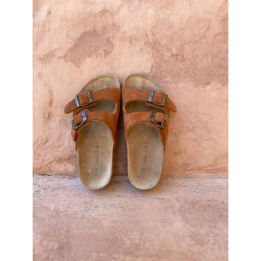 Liilu - Sandale ''Double Strap'', toffee leather