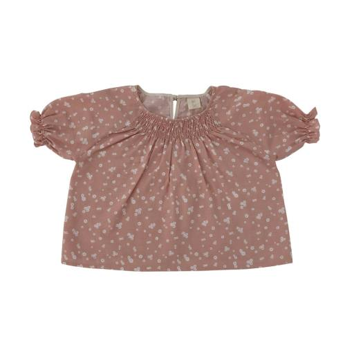 Liilu -Smocked Bluse, flower petals
