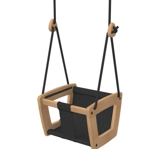 Lillagunga - Babyschaukel Eiche, Stoffsitz - schwarze Seile
