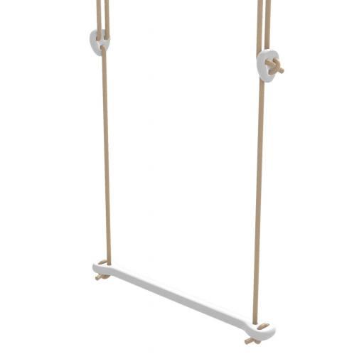 Lillagunga - Trapez Birke weiß lackiert - beige Seile