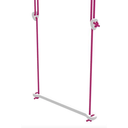 Lillagunga - Trapez Birke weiß lackiert - fuchsiafarbene Seile