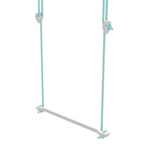 Lillagunga - Trapez Birke weiß lackiert - mintfarbene Seile