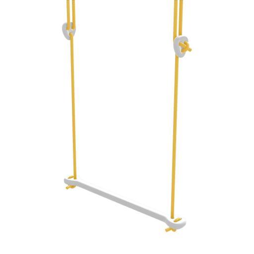 Lillagunga - Trapez Birke weiß lackiert - gelbe Seile