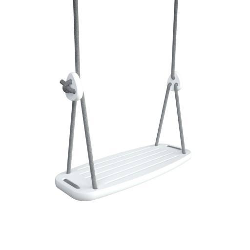 "Holzschaukel ""Classic"" Birke weiß - graue Seile (2 - 2,8 m)"