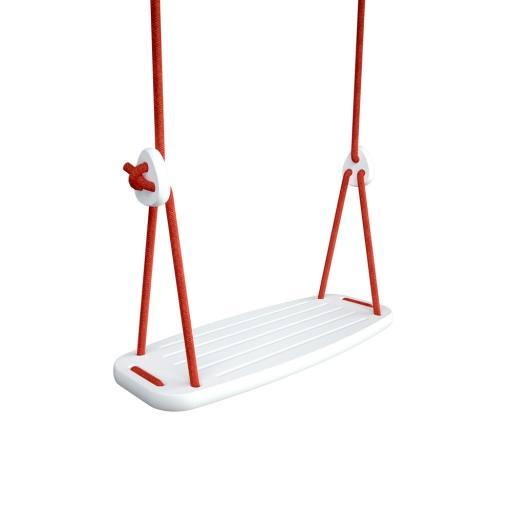 "Holzschaukel ""Classic"" Birke weiß - rote Seile (2 - 2,8 m)"