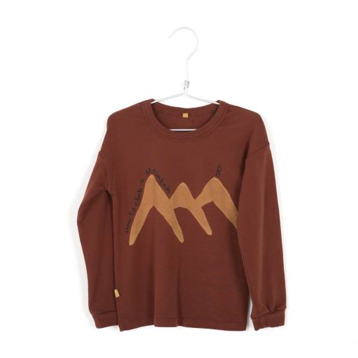 "Lötiekids -Longsleeve ""Rib T-Shirt How to climb"", rust brown"