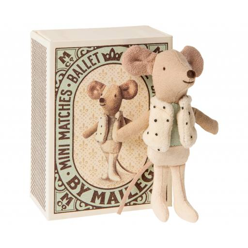 "maileg -Stofftier Tänzer Maus ""Dancer in matchbox, little brother mouse"""