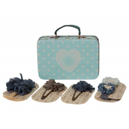 Maileg - Haar-Accessoire Set im Koffer - blau
