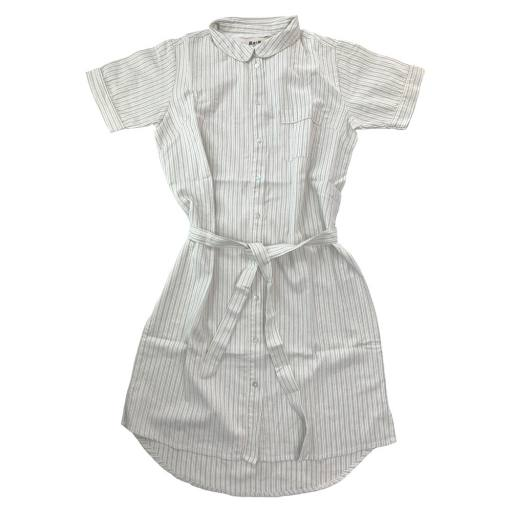 "MarMar - Woman Kleid ""Druma"", white sage stripes"