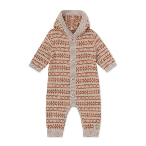 "Mini a Ture -Knit Romper ""Alver Jacquard Romper"",  light brown melange"