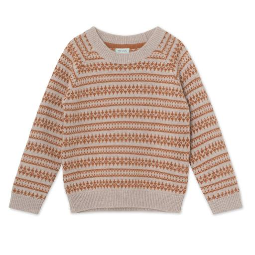 "Mini a Ture -Pullover ""Timo Jacquard Blouse"", light brown melange"