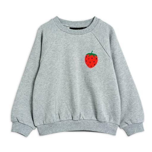 Mini Rodini - Sweatshirt ''Strawberry Emblem'', grey melange