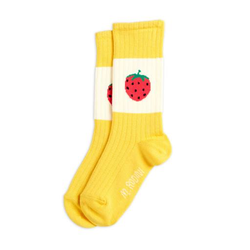 "Mini Rodini - Socken ""Strawberry ribbed"" yellow"