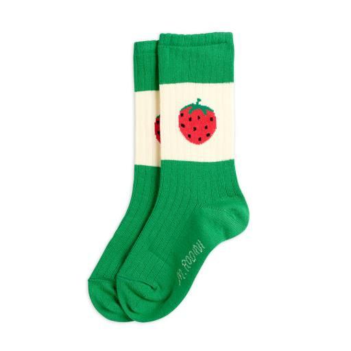 "Mini Rodini - Socken ""Strawberry ribbed"", green"