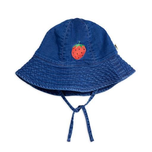 Mini Rodini - Sonnenhut ''Denim Strawberry'', blue