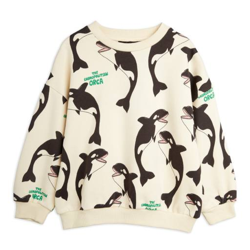 "Mini Rodini - Sweatshirt ''Orca Alloverprint"", off white"