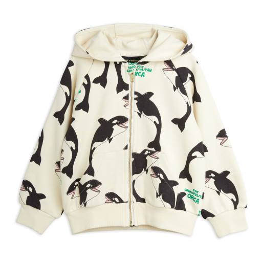 "Mini Rodini - Kapuzenjacke ''Orca Alloverprint zip"", off white"