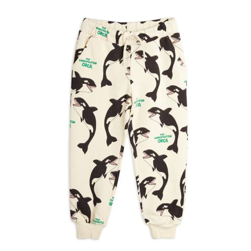 "Mini Rodini - Sweatpants ""Orca Alloverprint"", off white"