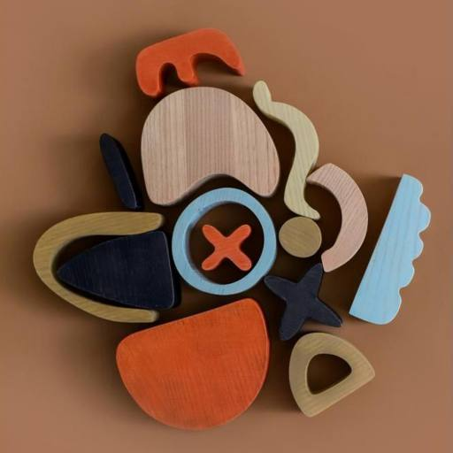 "MinMin Copenhagen - Holzspielzeug ""Abstract Building Blocks"", multicolor"
