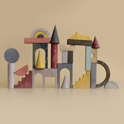 "MinMin Copenhagen - Holzspielzeug ""Architectural Blocks"", multicolor"
