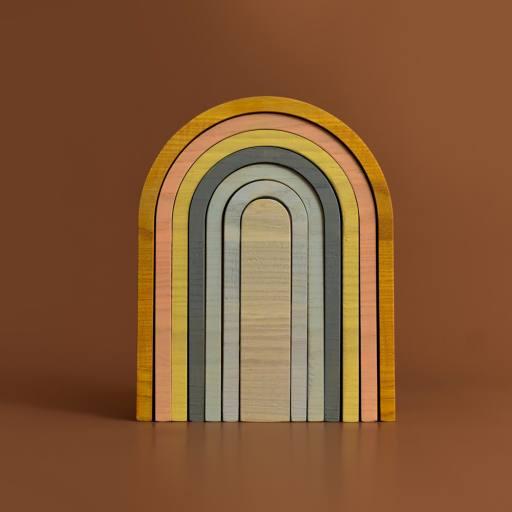 "MinMin Copenhagen - Stapelspiel ""Big Rainbow"", pastel"