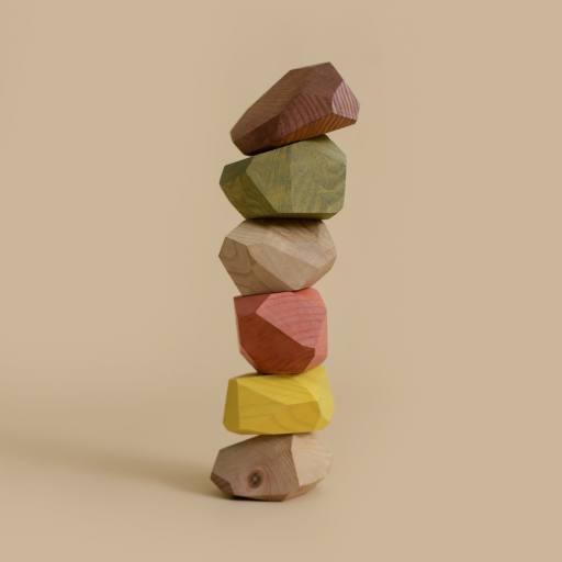 "MinMin Copenhagen - Holzspielzeug ""Balancing Stones"", earthy"