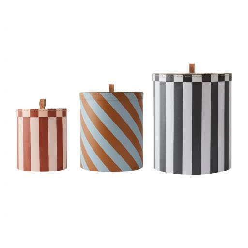 """OYOY - 3er-Set """"Storage Box Round"""", stripe"""