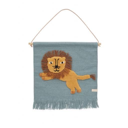 """Oyoy - Gewebter Wandteppich """"Jumping Lion Wallhanger"""""""