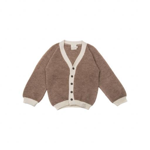 "Strickjacke ""Alpaca Cotton Cardigan V-Neck"", brown beige"