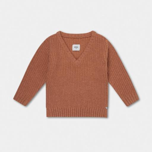 "Repose AMS -Pullover ""Knitted V Neck Sweater"", rusty apricot"