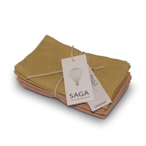 """Saga Copenhagen - 2er-Set Waschlappen """"Brita"""", mustard/dusty coral"""