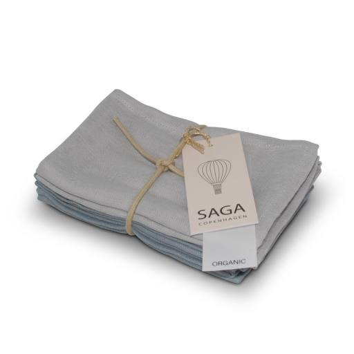 """Saga Copenhagen - 2er-Set Waschlappen """"Brita"""", silver grey/quite blue"""