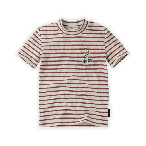 "Sproet & Sprout - Kurzarm-Shirt ""Turtle Neck Stripe"", rose"