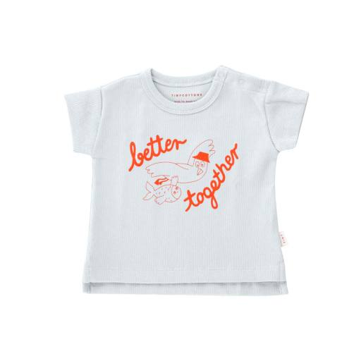 Tinycottons - Baby T-Shirt ''Better Together'', pale grey/red