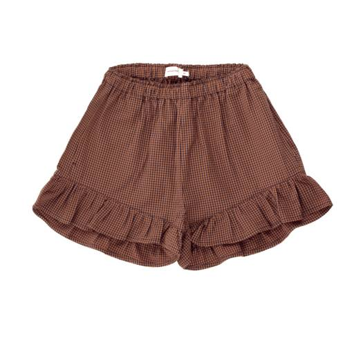 Tinycottons - Shorts ''Check Frill', cinnamon/ink blue