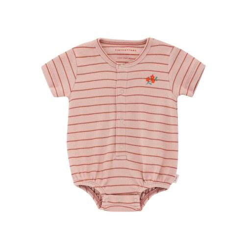 Tinycottons - Body ''Flowers Stripes Ballon Body'', dusty pink/maroon