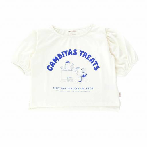 Tinycottons - Bluse ''Gambita´s Treats', off-white/iris blue